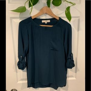 Loft forest green blouse with pocket